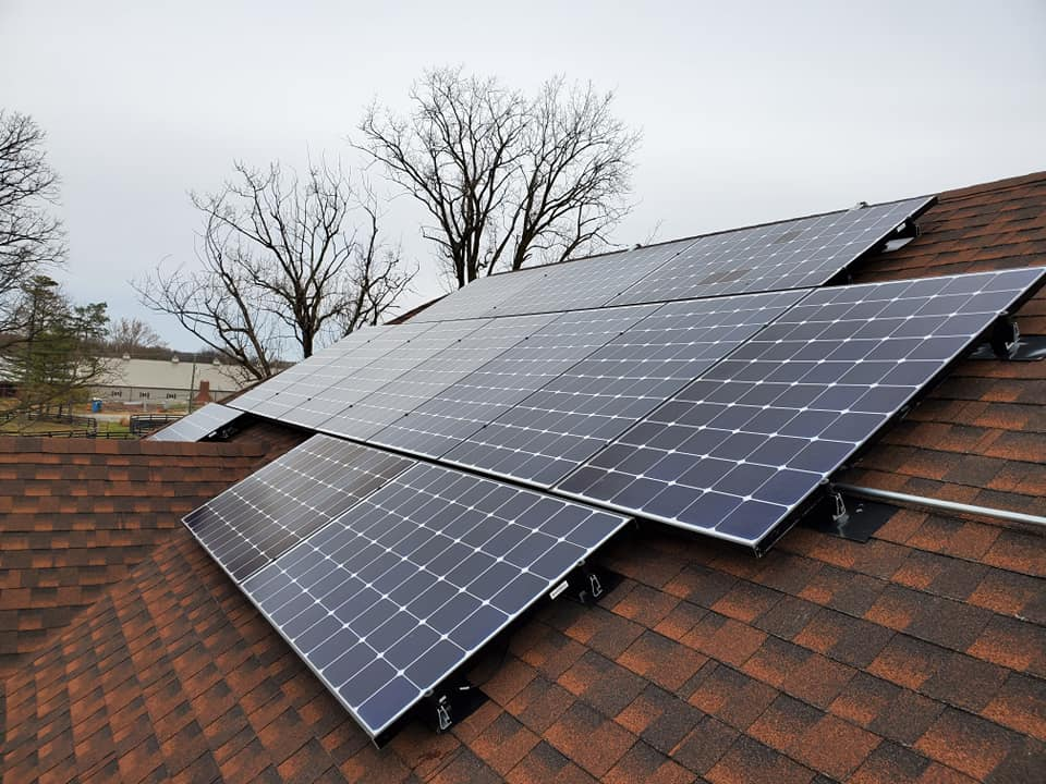 How are solar panels mounted to the roof?